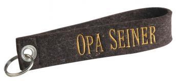 Filz-Schlüsselanhänger mit Stick Opa seiner Gr. ca. 17xcm 14063 braun