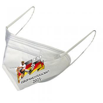 1 FFP2 Maske in Weiss Deutsche Herstellung mit Print - Europameisterschaft 2021 - 15298