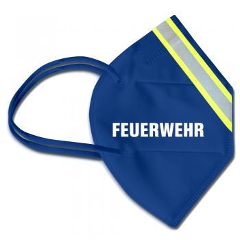 1 FFP2 Maske in Blau mit fluoreszierenden Streifen und Print - FEUERWEHR - 15382