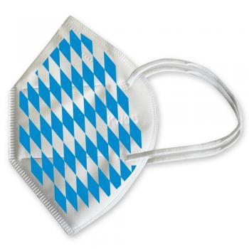 1x FFP2 Maske Deutsche Herstellung CE zertifiziert mit Bügeltransfer - Bayern Rauten - 15900/16