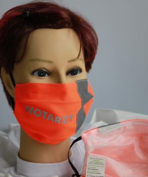 Textil Design-Maske waschbar aus Baumwolle - Orange mit fluoreszierenden Streifen - NOTARZT 15811