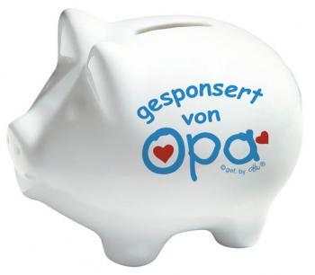 Keramik Sparschwein - Gesponsert von Opa - 22216