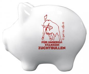 Keramik Sparschwein - Für unseren starken Zuchtbullen - 22229