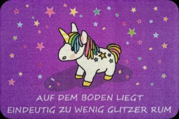 Fußmatte Türvorleger Einhorn Unicorn Auf dem Boden...Glitzer...25061 Gr. ca. 60 x 40 cm