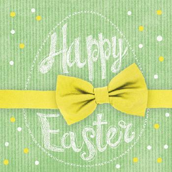Servietten 20er Set - TISSUE mit Motiv -Happy Easter Schleife- 33724 Gr. ca. 33x33cm