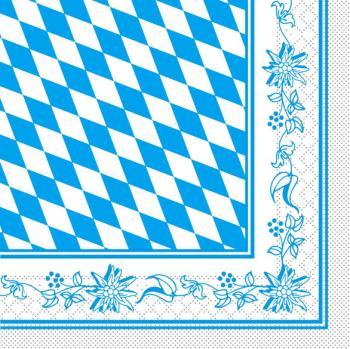 Servietten 100 Stk. - 33 x 33 cm - mit Rautendesign und Bordüre - Oktoberfest - 33910