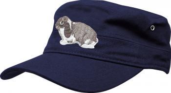 Military-Cap mit Einstickung - Hase Kaninchen - 60583 dunkelblau