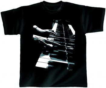 T-Shirt unisex mit Print - Piano Hands - 10392 schwarz - von ROCK YOU MUSIC SHIRTS - Gr. L