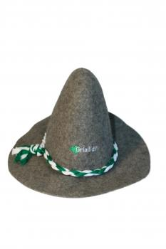 Gaudi-Hut Seppelhut fester Filz mit hochwertiger Einstickung - Griaß di - 51506 hellgrau - Wiesn Oktoberfest