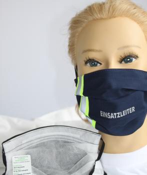 Textil Design-Maske waschbar aus Baumwolle - Blau mit fluoreszierenden Streifen - EINSATZLEITER - 15803