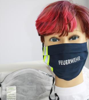Textil Design-Maske waschbar aus Baumwolle - Blau mit fluoreszierenden Streifen - FEUERWEHR - 15801