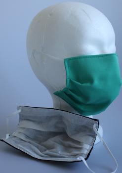 Textil Design-Maske waschbar aus Baumwolle mit Innenvlies - Türkis Neutral Unifarben + Zugabe
