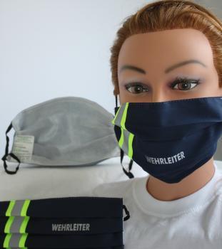 Textil Design-Maske waschbar aus Baumwolle - Blau mit fluoreszierenden Streifen - WEHRLEITER - 15802