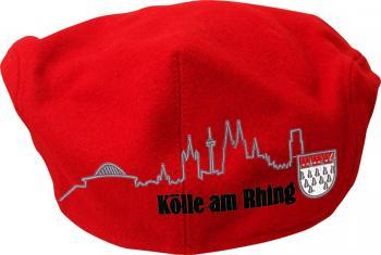 Gatsby Cap mit Front- und Rückseitiger Einstickung - Silhouette Köln Kölsch-Wappen - 53422 rot 59cm