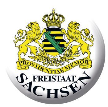 Anstecknadel Button Ansteckbutton mit Motivdruck - FREISTAAT SACHSEN - 03862 - Gr. ca. 57 mm