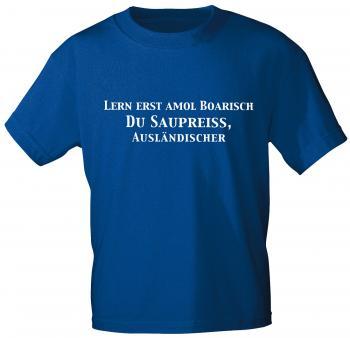 T-Shirt mit Aufdruck - Lern erst amol Boarisch... - 10912 blau - Gr. S-XXL