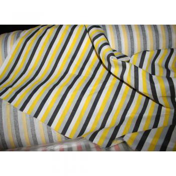 Stoff Meterware Dekostoff weiß-gelb-grau-schwarz gestreift ca. 140cm