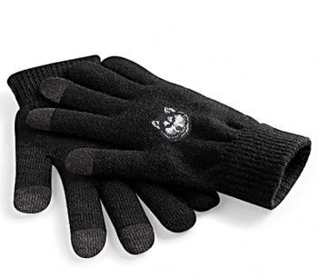 Touch-Handschuhe mit Einstickung - Husky - 31652-5 schwarz Gr. S-XL