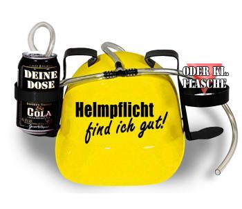 Trinkhelm Spaßhelm mit Printmotiv - Helmfplicht find ich gut  - 11844 - versch. Farben zur Wahl gelb