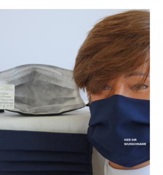 Textil Design-Maske waschbar aus Baumwolle - Unifarben mit Wunschname