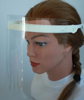 Klarsicht Gesichtschutz Gesichtsvisier aus Kunststoff mit Wunschname weiß