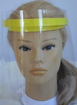 Klarsicht Gesichtschutz Gesichtsvisier aus Kunststoff mit Wunschname gelb