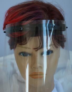 Klarsicht Gesichtschutz Gesichtsvisier aus Kunststoff mit Wunschname schwarz
