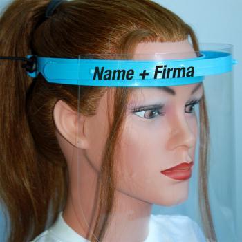 Klarsicht Gesichtschutz Gesichtsvisier aus Kunststoff mit Wunschname blau