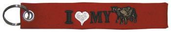 Filz-Schlüsselanhänger mit Stick I love Calves Kälber Gr. ca. 17x3cm 14092 rot