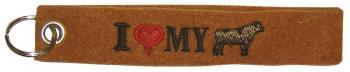 Filz-Schlüsselanhänger mit Stick I love my Bull Gr. ca. 17x3cm 14093 braun