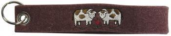 Filz-Schlüsselanhänger mit Stick Kühe Gr. ca. 17x3cm 14094 braun