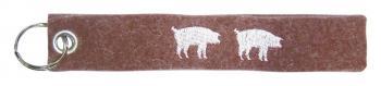 Filz-Schlüsselanhänger mit Stick Zwei Schweine Gr. ca. 17x3cm 14096 braun