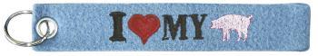 Filz-Schlüsselanhänger mit Stick I love my Pig Gr. ca. 17x3cm 14097 hellblau