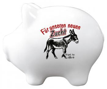 Keramik Sparschwein - Für unseren neuen Zuchtesel - 22251