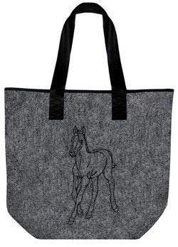 Filztasche mit Einstickung - PFERD FOHLEN - 26057 - Tasche Shopper Bag Umhängetasche