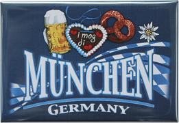 Kühlschrankmagnet - MÜNCHEN GERMANY BREZEL BIERGLAS HERZ - Gr. ca. 8cm x 5,5cm - 38752 - Küchenmagnet