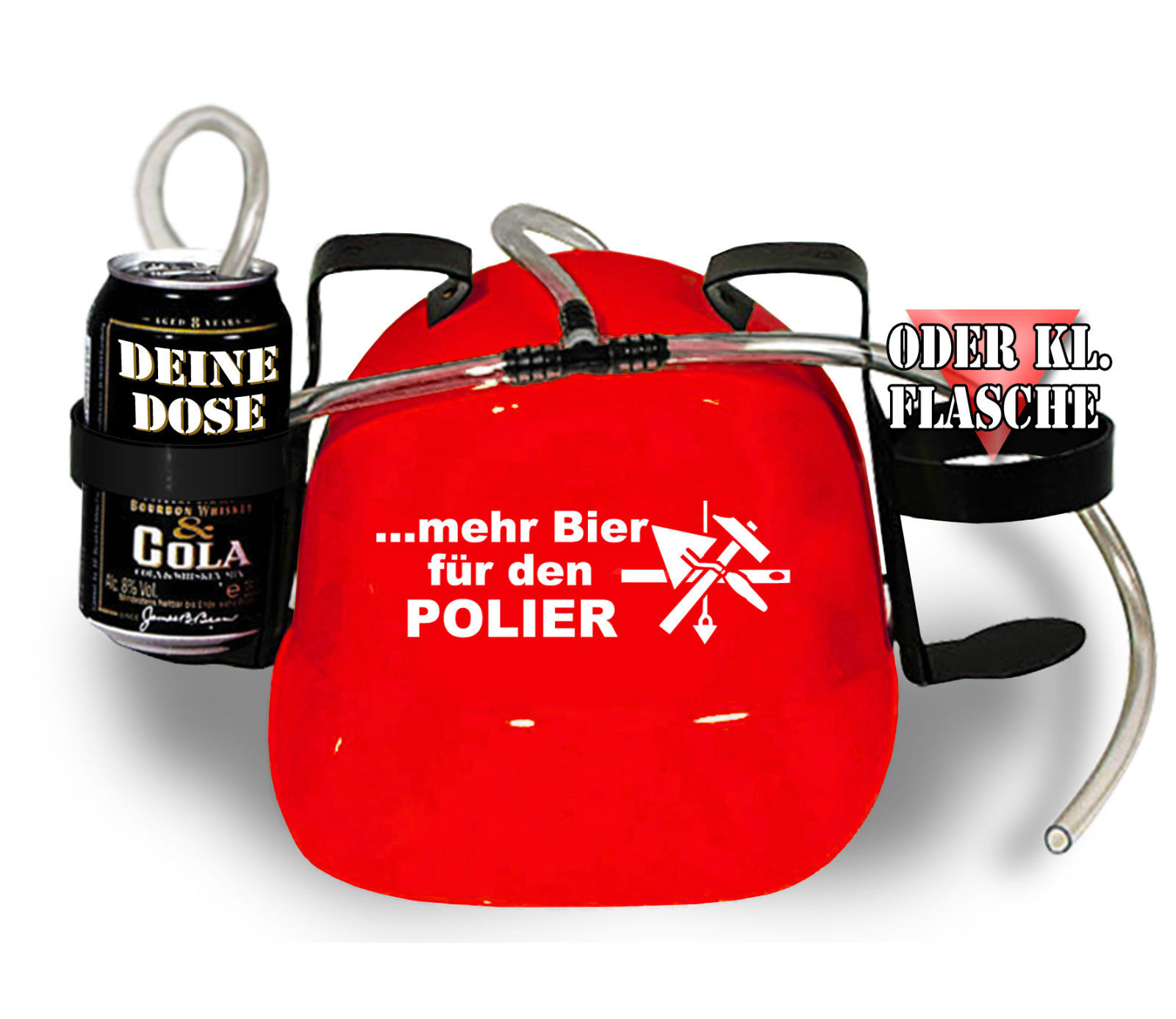 Trinkhelm mit Schlauch Trinkerhelm Saufhelm Helm Bier-Pumpe 51623 rot