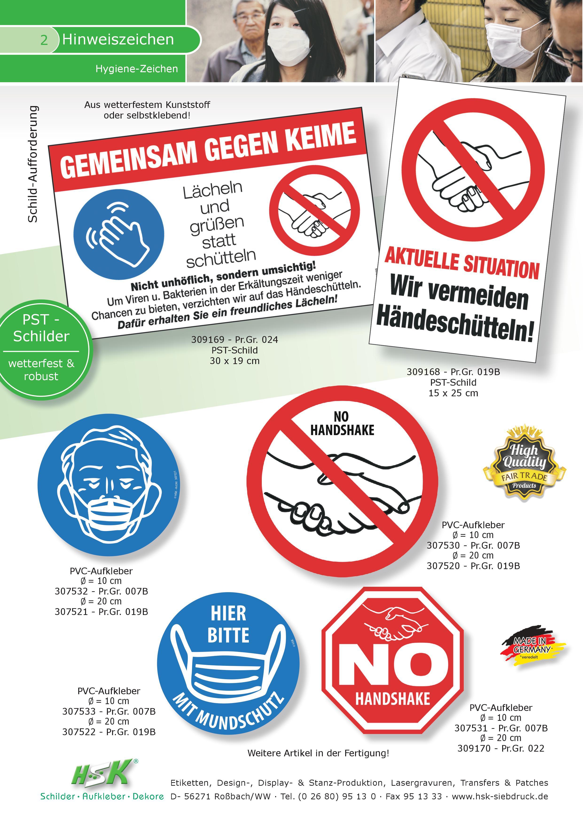 "Schilder /"" Gemeinsam gegen Keime/""  Kunststoff Türschild Anti-Corona"