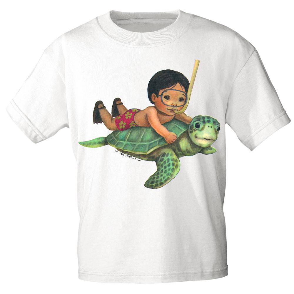 Kinder T-Shirt mit Print - Schildkröte - K12777 versch. Farben Gr ...