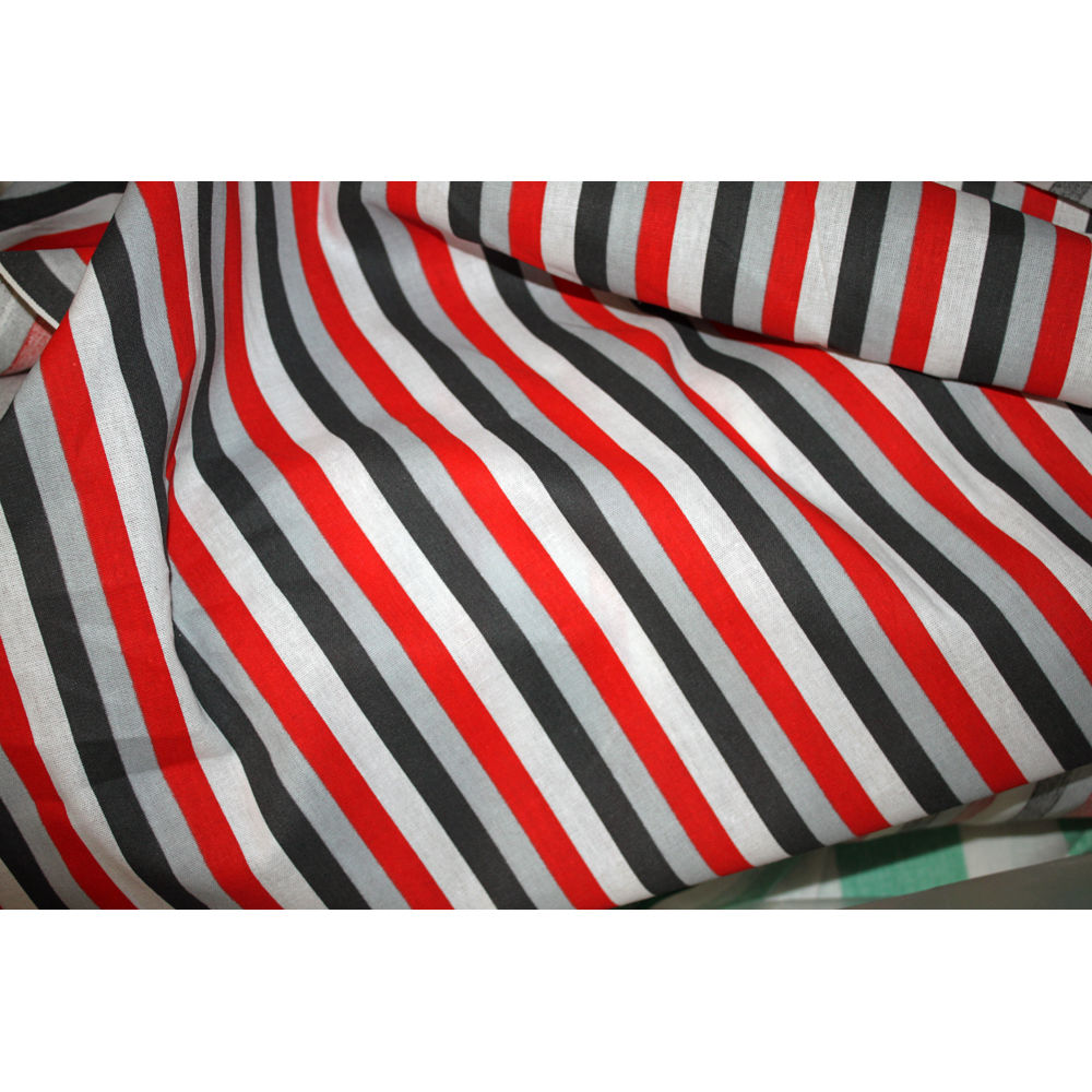 stoff meterware dekostoff wei grau rot schwarz gestreift. Black Bedroom Furniture Sets. Home Design Ideas