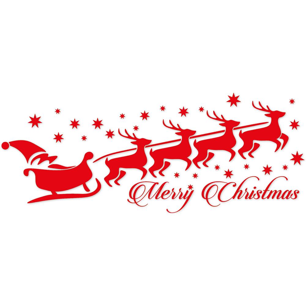 Wandtattoo Dekorfolie - Weihnachtsschlitten - Merry Christmas ...