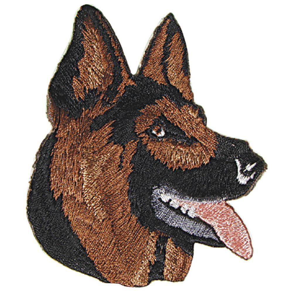 04524 Aufnaeher Applikation edles Stickemblem 9 x 6 cm Schaeferhund