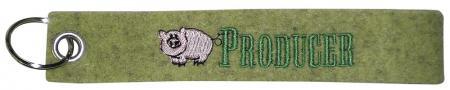 Filz-Schlüsselanhänger mit Stick Schwein Producer Gr. ca. 17x3cm 14087 grün