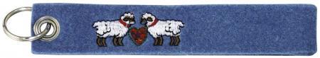Filz-Schlüsselanhänger mit Stick Schafe Gr. ca. 17x3cm 14142 blau
