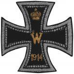 Aufnäher Applikation Spruch - Eisernes Kreuz - 04747 - Gr. ca. 7,5cm x 7,5cm