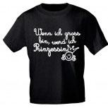 Kinder T-Shirt mit Print - Wenn ich groß bin werd ich Prinzessin - 08189 schwarz - Gr. 86-164