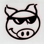 Dekoraufkleber Applikationsaufkleber Pork- Schwein in 4 Farben  AP0921