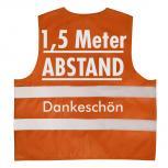 Warnweste mit Print - 1,5 Meter Abstand Dankeschön - 15951 Gr. Orange / XL