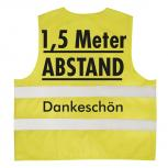 Warnweste mit Print - 1,5 Meter Abstand Dankeschön - 15951 Gr. gelb / S