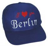 Cap - BW - Kappe mit  stylischer Bestickung - I love you Berlin - 68081 blau - Cap Kappe Baumwollcap Baseballcap